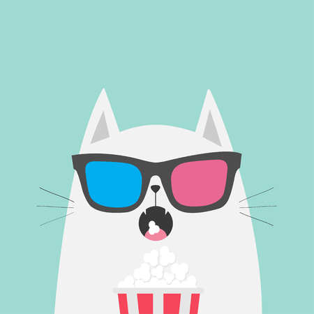 White cat eating popcorn. Cinema theater. Cute cartoon funny character. Film show. Kitten watching movie in 3D glasses. Blue background. Isolated. Flat design. Vector illustration
