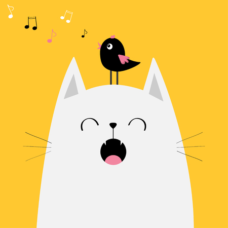 White cat with a bird in the head. Illustration
