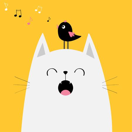 Witte kat met een vogel in het hoofd. Stock Illustratie