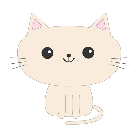 Cute sitting cat icon. Funny cartoon character. Tail, whisker, big eyes. Kitty kitten. Baby pet collection White background.