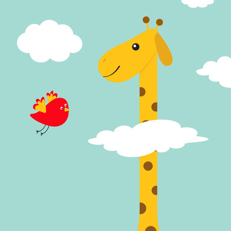 Giraffe with spot. Flying bird. Zoo animal. Long neck. Cute cartoon character. Savanna jungle african animals collection. Education cards for kids. Blue sky background White cloud. Flat design. Vector