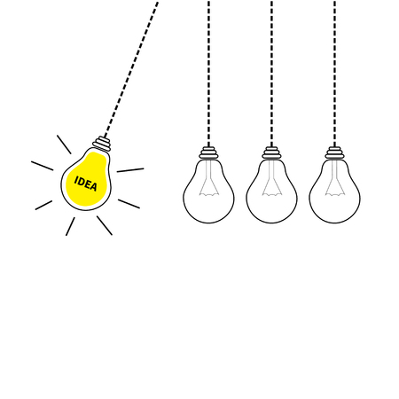 Perpetual motion. Hanging light bulb icon set. Switch on off lamp. Idea text. Shining effect. Dash line. Yellow color. Business success concept. Infographic. Flat design. White background. Vector