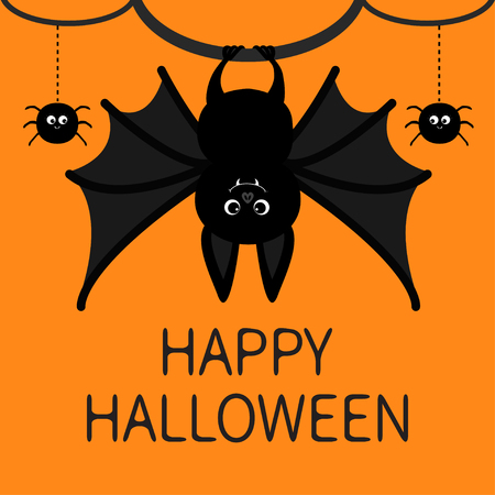 Bat hanging halloween poster. 向量圖像