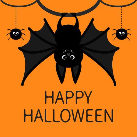 Bat hanging halloween poster. Illustration
