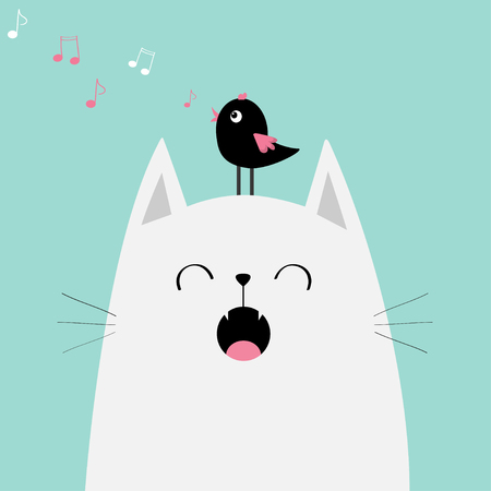 White cat face silhouette meowing singing song. Bird on head. Music note flying. Cute cartoon funny character. Illustration