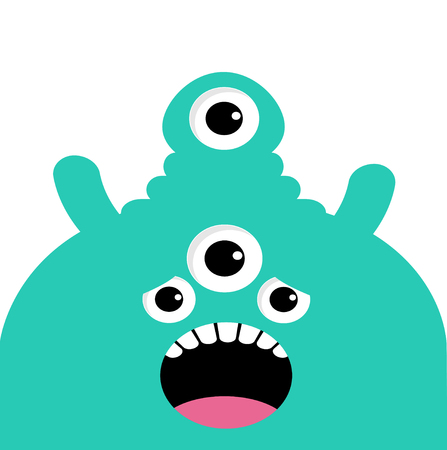 Green monster head Funny Cute cartoon character