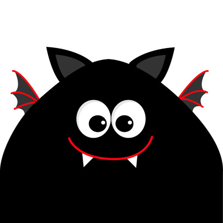 Funny monster head silhouette with big eyes, fang tooth and wings