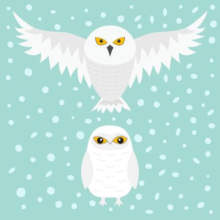 White Snowy owl vector