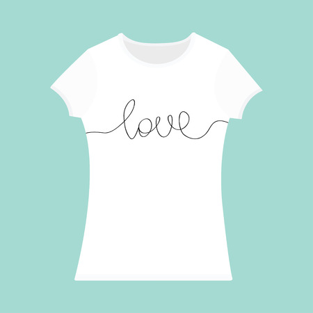 word love lettering red heart t shirt template white color