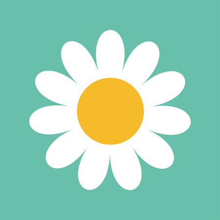 White daisy chamomile. Cute big flower plant collection. Love card. Chamomile icon Growing concept. Illustration