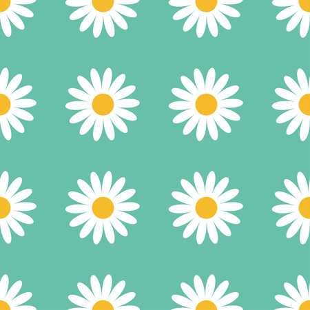 daisy wheel: Seamless Pattern. White daisy chamomile flower icon. Cute camomile plant collection. Growing concept. Wrapping paper, textile template. Green background. Flat design. Vector illustration