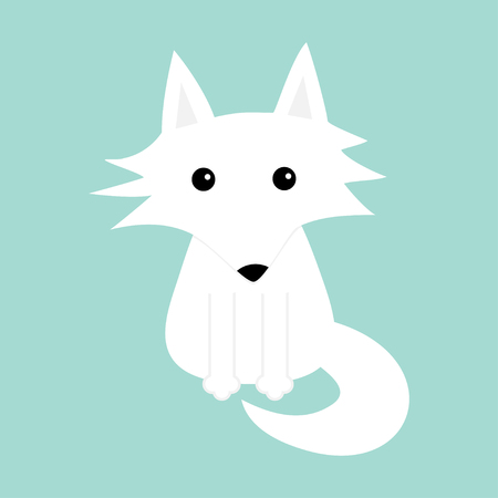 White fox. Polar wolf. Cute cartoon baby character icon. Arctic animal collection. Flat design Winter blue background Isolated. Vector illustration