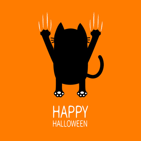 Happy Halloween Greeting card. Cartoon black cat. Back view. Red bloody claws animal scratch scrape track. Cute funny character. Orange background. Isolated. Flat design. Vector illustration Illustration