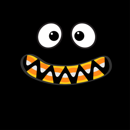 Monster face emotions, Vampire tooth fang, Big eyes, mouth with candy corn teeth, Happy Halloween in  Flat design style . Illustration