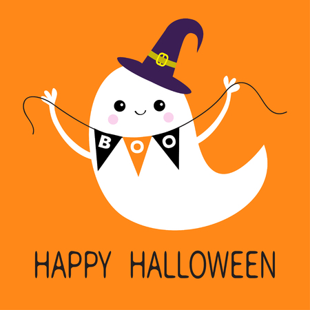 floating: Flying ghost spirit holding bunting flag Boo Witch hat, Happy Halloween, Scary white ghosts, Cute cartoon spooky character. Illustration