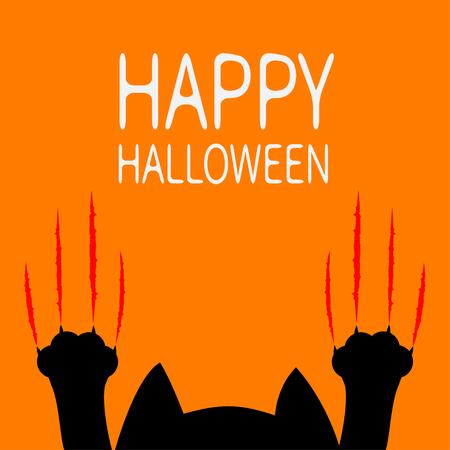 Happy Halloween card. Cartoon black cat. Paw print Head silhouette. Red bloody claws animal scratch scrape track. Illustration