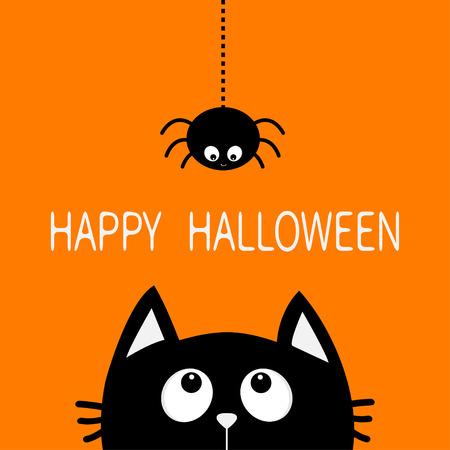 Fröhliches Halloween. Schwarze Katzengesichtskopfschattenbild, das oben zum Hängen auf Strichlinie Netzspinneninsekt blickt. Nette Zeichentrickfigur. Baby Haustier Tier Sammlung. Flaches Design Orange Hintergrund. Vektor Standard-Bild - 85422053