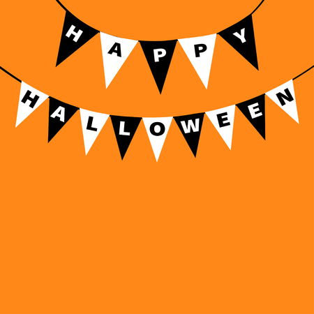 festive occasions: Happy Halloween card. Bunting flags pack letters. Flag garland. Party decoration element. Hanging text on rope thread. Black white triangle set. Flat design. Orange background. Vector illustration
