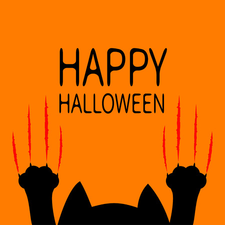Happy Halloween card. Black cat. Paw print Head silhouette. Red bloody claws animal scratch scrape track. Cute cartoon funny character. Orange background. Isolated. Flat design. Vector illustration
