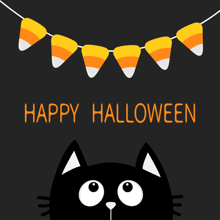 Cat face head silhouette looking up to Bunting flags Candy corn. Flag garland. Happy Halloween card. Party decoration element. Hanging text on rope thread. Flat design. Black background. Vector Illustration
