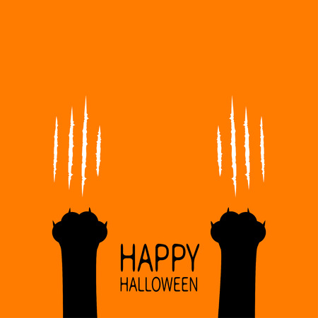 Happy Halloween. Two black cat scratching paw leg foot. Bloody claws animal scratch scrape track. Baby pet collection. Cute cartoon character body part silhouette. Flat design Orange background Vector
