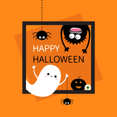Happy Halloween card. Square frame. Flying ghost, monster head silhouette. Hanging upside down. Black spider dash line. Pumpkin, eyeball. Cute cartoon baby character. Flat Orange background. Vector