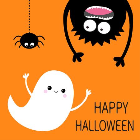 Happy Halloween card. Flying ghost spirit. Monster head silhouette. Eyes, hands. Hanging upside down. Black spider dash line. Funny Cute cartoon baby character. Flat design. Orange background. Vector