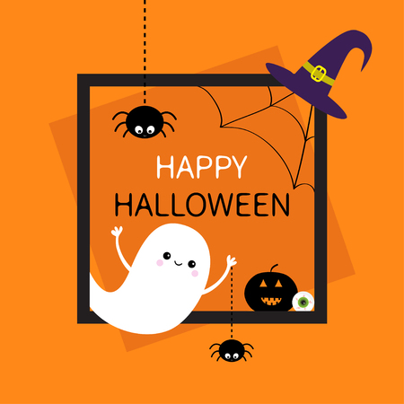 Happy Halloween. Square frame. Flying ghost, monster head silhouette. Black spider dash line. Pumpkin, eyeball, witch hat. Cute cartoon baby character Flat design Orange background Vector illustration