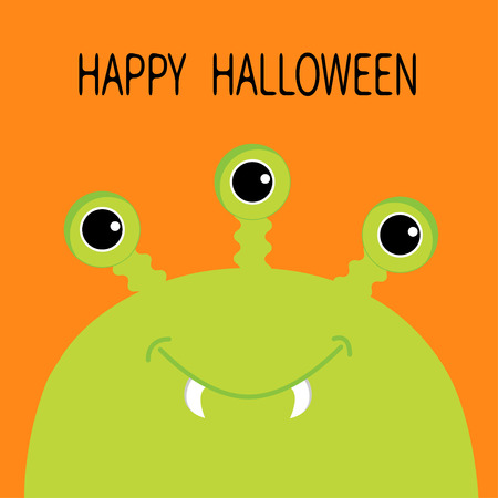 Happy Halloween card. Monster head silhouette with three eyes, fang tooth. Green color. Funny Cute cartoon character. Baby collection. Isolated. Flat design. Orange background. Vector illustration Ilustrace