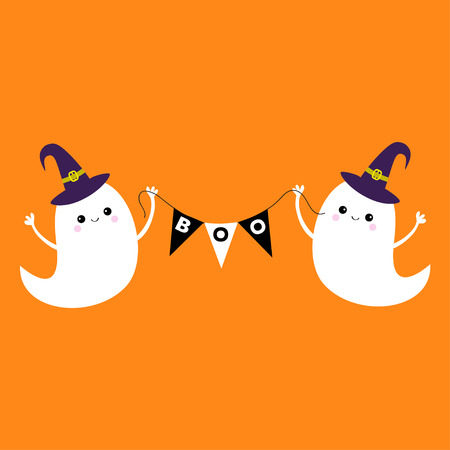Flying Ghost Spirit Holding Bunting Flag Boo. Witch Hat. Happy Halloween.  Two Scary