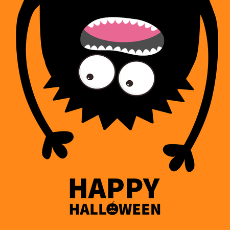 Happy Halloween card. Pumpkin text. Screaming monster head silhouette. Two eyes, teeth, tongue, hands. Hanging upside down. Black Funny Cute cartoon baby character Flat design Orange background Vector Иллюстрация