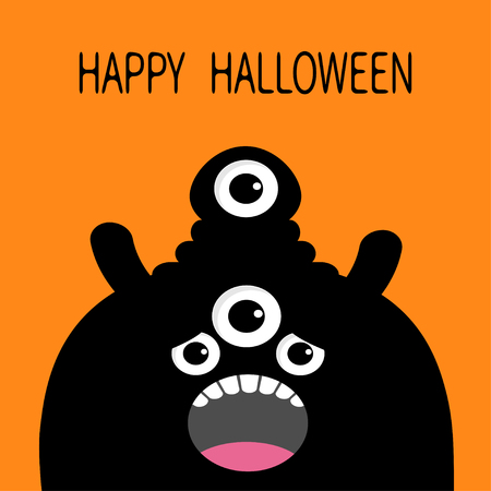 Happy Halloween card. Monster head silhouette with four eyes, teeth, tongue. Black color. Funny Cute cartoon character. Baby collection. Flat design. Orange background. Vector illustration