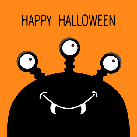 Happy Halloween card. Monster head silhouette with three eyes, fang tooth. Black color. Funny Cute cartoon character. Baby collection. Isolated. Flat design. Orange background. Vector illustration Иллюстрация