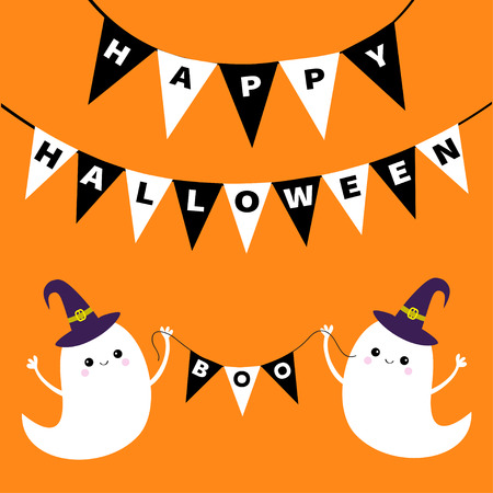 Happy Halloween with banner with ghost in cartoon design vector illustration
