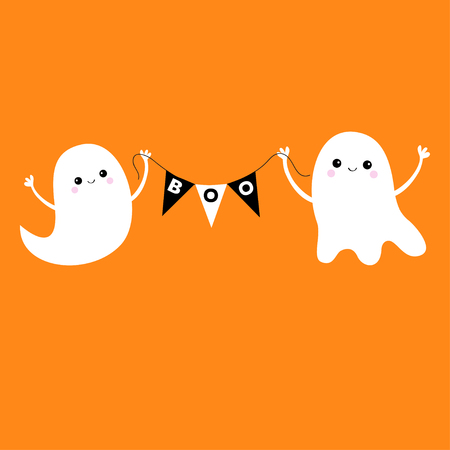 Flying ghost spirit holding bunting flag Boo. Two scary white ghosts. Cute cartoon spooky character. Smiling face, hands. Happy Halloween. Orange background. Greeting card. Flat design. Vector