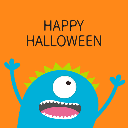 Happy Halloween card. Screaming spooky monster head silhouette. One eye, teeth, tongue, hands. Funny Cute cartoon character. Illustration