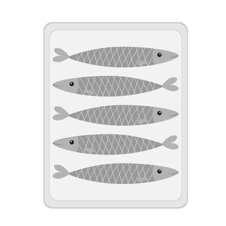 Sardine gray fish tin icon set. Iwashi. Canned sardina Pilchardus can. Cute cartoon character. Anchovy pilchard. Water animal. Marine life. Flat design. White background. Isolated. Vector illustration Ilustracja