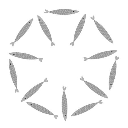 Set di pesci grigi sardine. Iwashi. Sardina pilchardus school Personaggio simpatico cartone animato. Acciuga sardina Acqua animale Vita marina. Cerchio cornice rotonda. Design piatto. Sfondo bianco. Isolato. Vettore