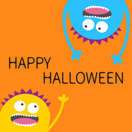 Happy Halloween card. Two screaming monster head silhouette set. Hanging upside down. Eyes, teeth, tongue, hands. Funny Cute cartoon character. Baby collection. Flat design.