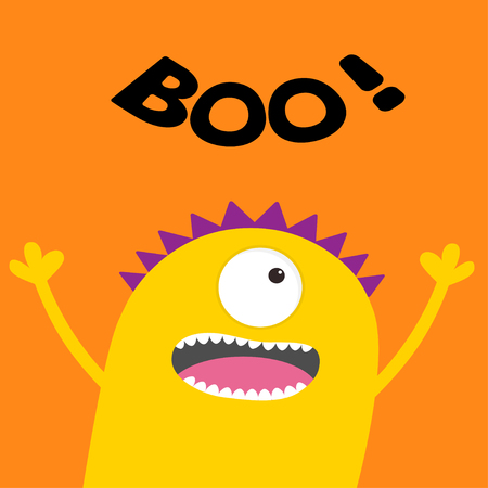 Happy Halloween card. Boo text. Screaming spooky yellow monster head silhouette. One eye, teeth, tongue, hands. Funny Cute cartoon character. Baby collection. Flat design.