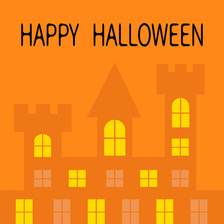 Happy Halloween. Haunted house shadow. Dark castle tower silhouette. Switch on yellow light at the windows, triangle roof. Greeting card. Flat design. Orange background. Isolated. Vector illustration