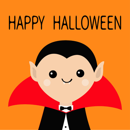 Count Dracula head wearing black and red cape. Cute cartoon vampire character with fangs. Happy Halloween. Greeting card for kids. Flat design. Orange background. Isolated. Vector illustration