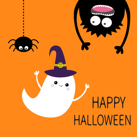 Happy Halloween card. Flying ghost spirit witch hat. Monster head silhouette. Eyes, hands. Hanging upside down. Black spider. Funny Cute cartoon baby character. Flat design. Orange background. Vector Illustration