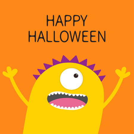 Happy Halloween card. Screaming spooky yellow monster head silhouette. One eye, teeth, tongue, hands. Funny Cute cartoon character. Baby collection. Flat design. Orange background. Vector