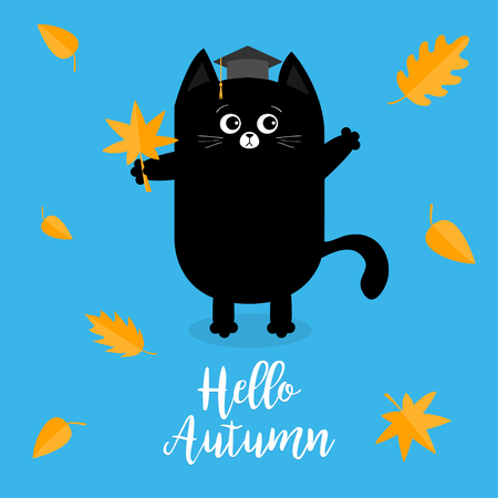 silueta de gato: Hello autumn card design