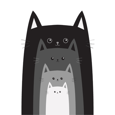family isolated: Black gray cat head. Cats in a row. Cute cartoon funny smiling character family set. Different size big small middle. Pet baby collection Card Flat design White background Isolated Vector illustration Illustration