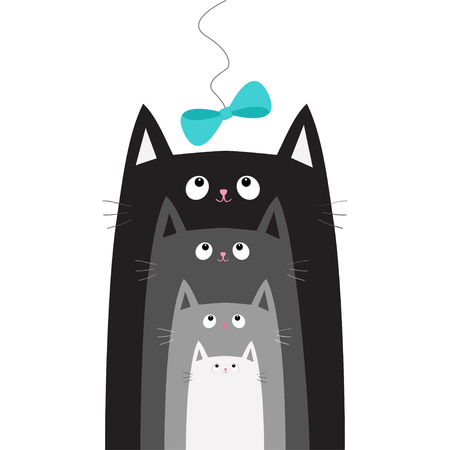family isolated: Black gray cat head looking at blue bow hanging on thread. Cats in a row. Different size. Cute cartoon character family set. Pet baby collection Card. Flat design. White background Vector illustration