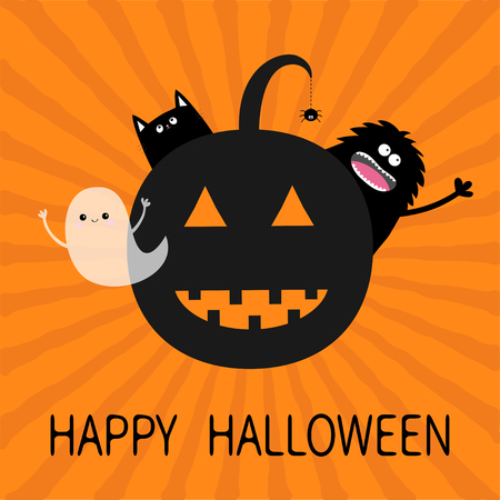 silueta de gato: Happy Halloween. Smiling pumpkin face silhouette. Black cat, screaming monster waving hand, flying ghost spirit. Spider insect dash line. Greeting card. Flat design. Orange starburst background Vector Vectores