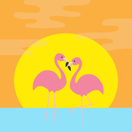 Two pink flamingo standing on one leg. Ocean, see water wave, sun set. Exotic tropical bird. Zoo animal collection. Cute cartoon character. Love Flat design. Orange background. Vector illustration