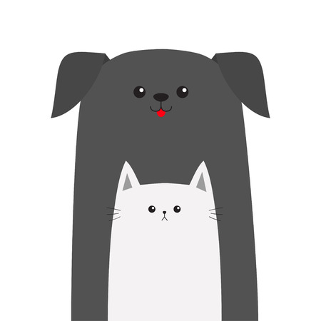 silueta de gato: Pet shop icon. Dog Cat animal. Red tongue. Happy pets set. Veterinary design element. Cute cartoon funny character. Friends forever. Flat. White background. Isolated. Vector illustration